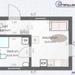 Planlösningsförslag 6 för attefallshus 30 kvm