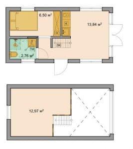 planlösning attefallshus 30 kvm med loft