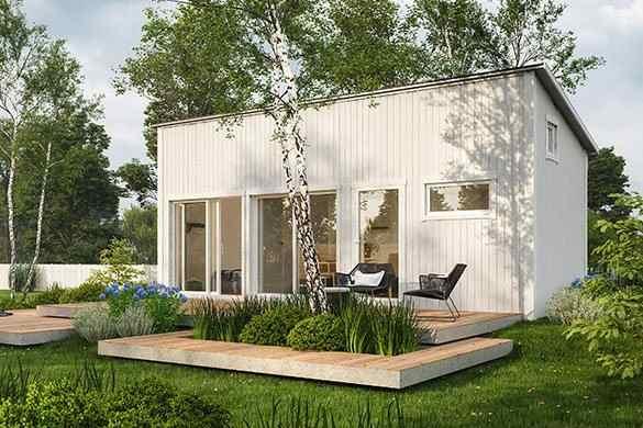 Modernt attefallshus byggsats från Polhus i vitt
