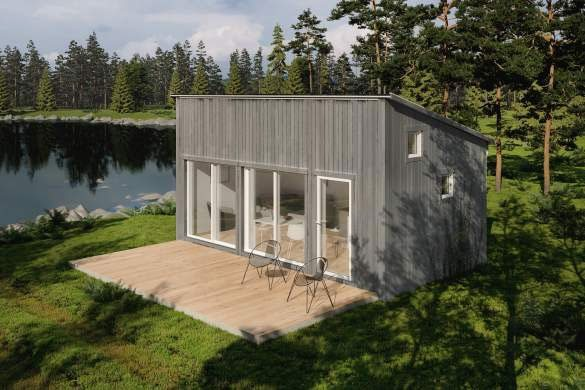 Polhus stilrent attefallshus vid sjö