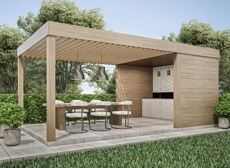 Poolhus med tak - utan väggar